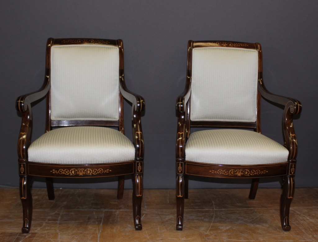 Pair Of Charles X Period Armchairs In Marquetry