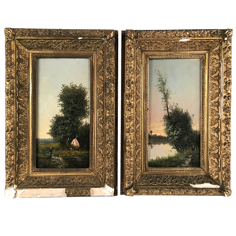 PAIR OF FRENCH SCHOOL OIL ON PANELS