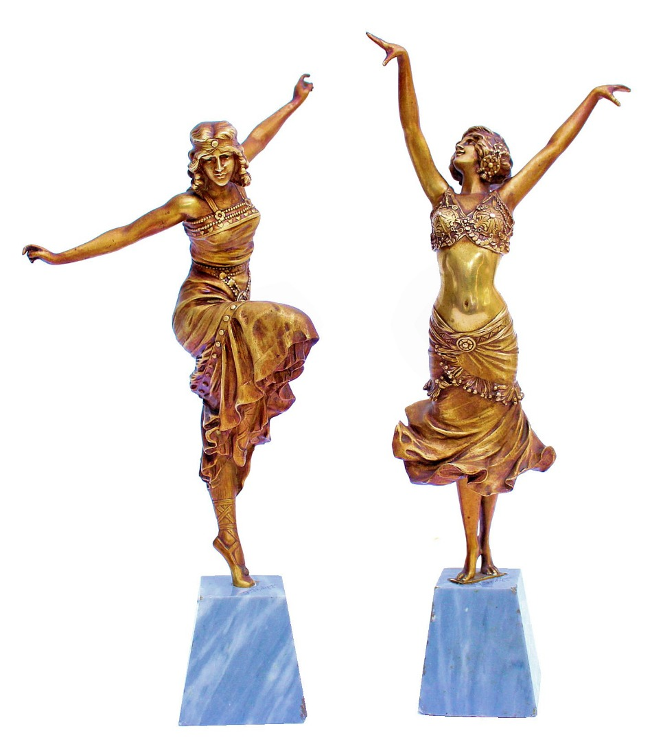PAIR OF BRONZE FIGURES by Paul Philippe (1870-1930)