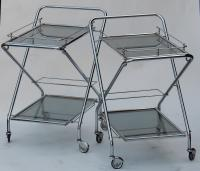 1950/70's Pair of Rolling Bars of Journey and Campstool, in Chrome-plated Metal In the Style of Jacques Adnet