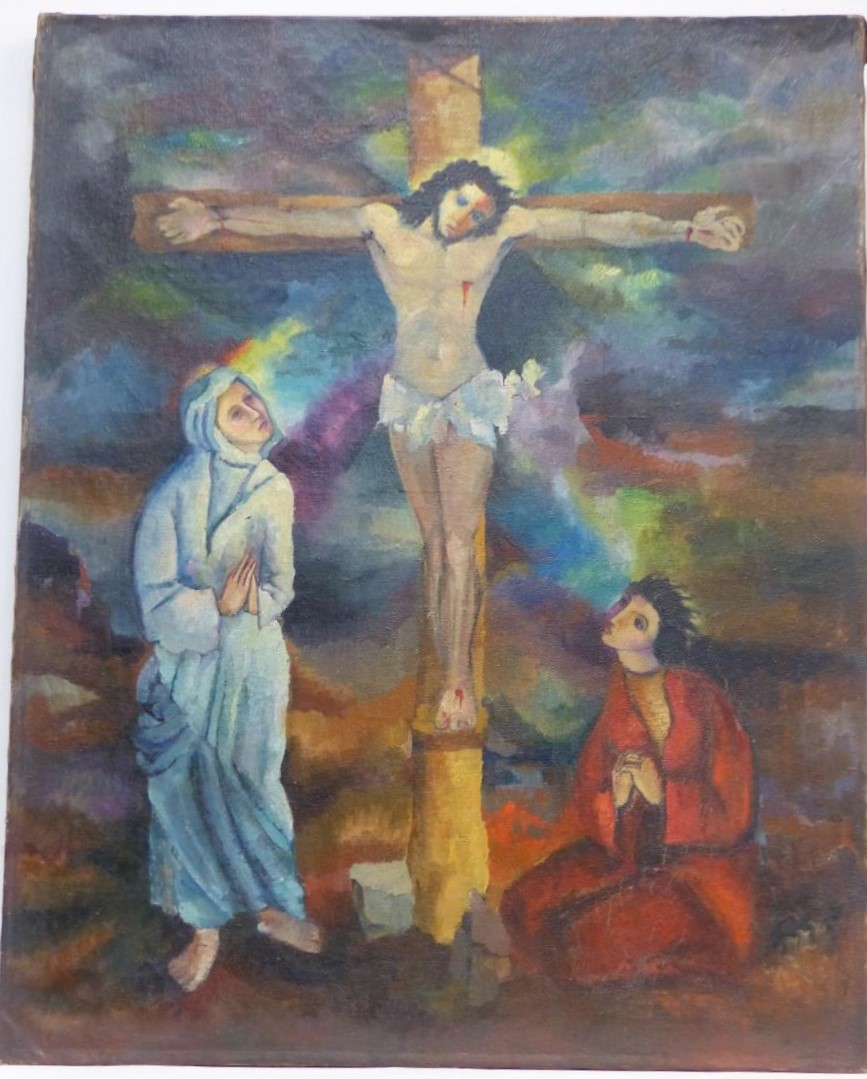 Fauvist painting descent from the cross first half xx em