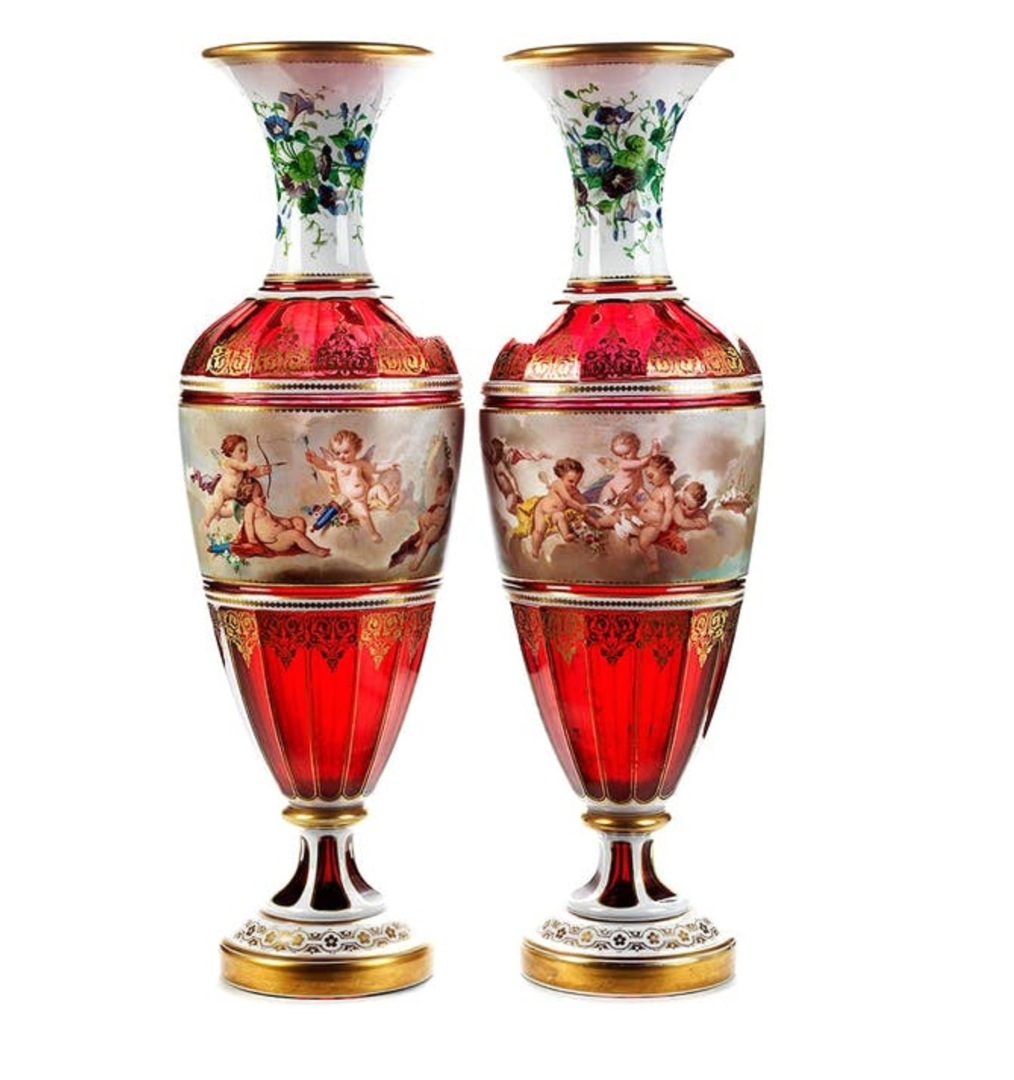 Glass and porcelain vases