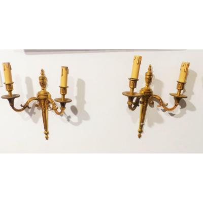 Pair Of Candelabra Bronze Sconces Louis XVI Style Directoire Circa XIX Eme Napoleon III Candlesticks Wall Sconces