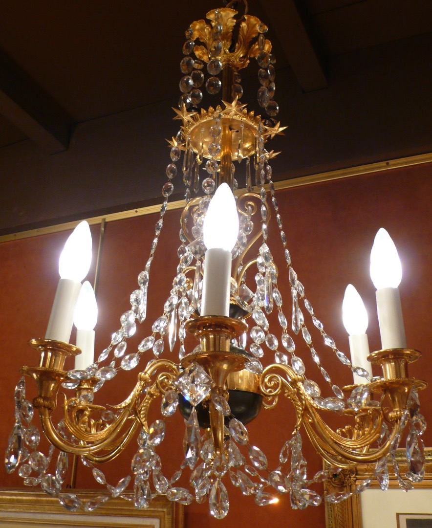 Chandelier Gilt Bronze And Bronze Patina Six Arms Of Light