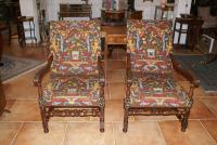 PAIR OF 18TH C LOUIS XIII STYLE ARMCHAIRS