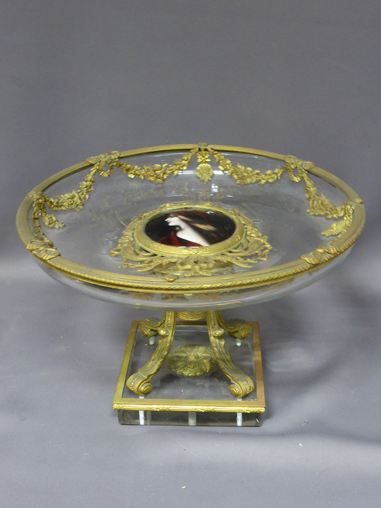 CRYSTAL AND BRONZE BOWL