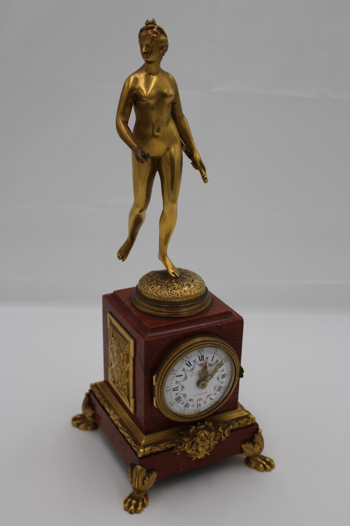 GILT BRONZE AND MARBLE CLOCK