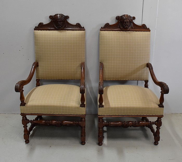 PAIR OF LOUIS XIII STYLE ARMCHAIRS