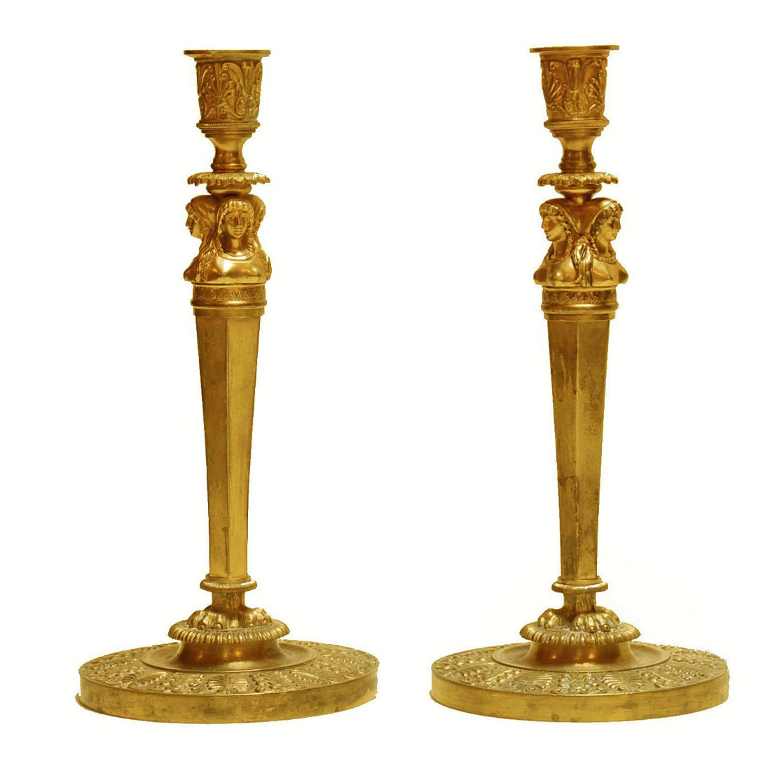PAIR OF FRENCH EMPIRE PERIOD CANDLESTICKS(Claude Galle 1759-1815)