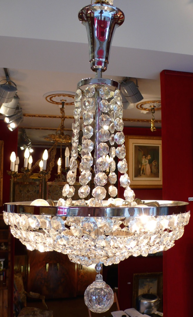 Fountain Chandelier ancient XXTh century Art Deco period in Crystal of Baccarat 6 lights