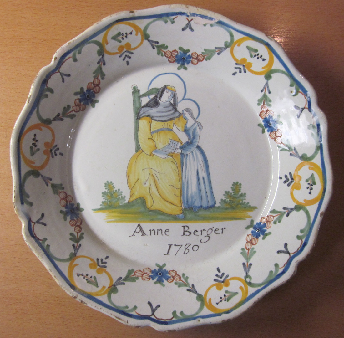 18th CENTURY NEVERS FAIENCE PLATE