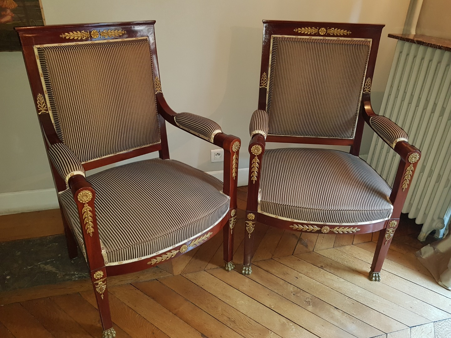 Pair Of Empire Style Ceremonial Armchairs - End Of The 19th Century.