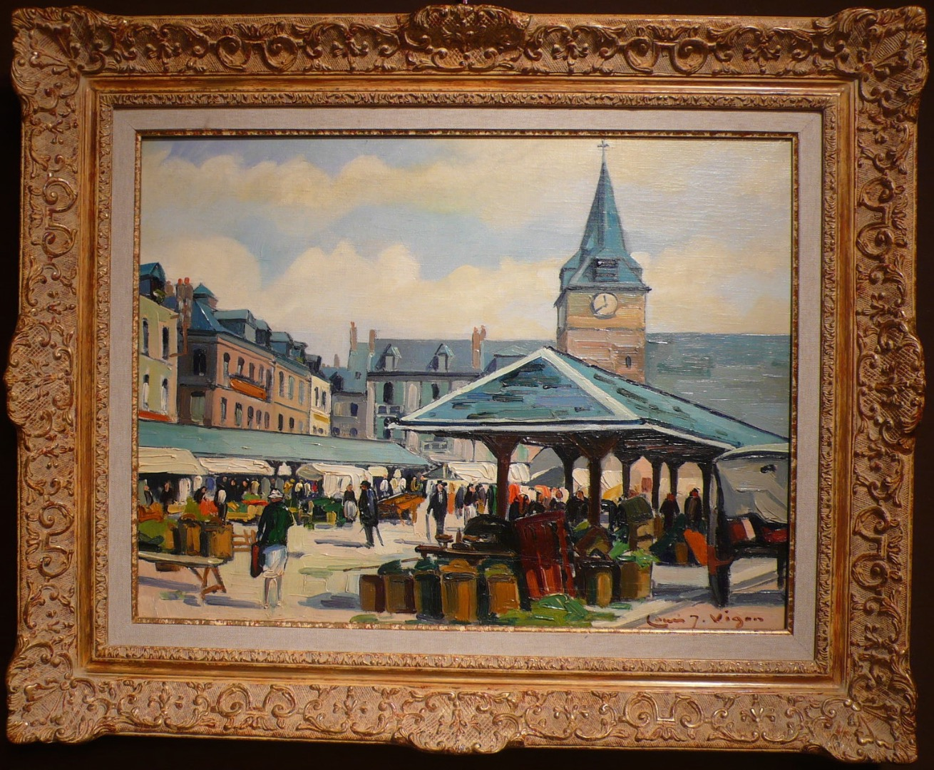Louis Vigon Painting 20th School Of Rouen Place Of The Market Villers Sur Mer Oil Canvas Signed