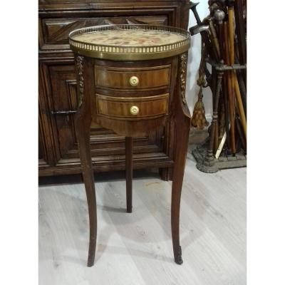 Small In Case Between Two Pedestal Console Round Drum Louis XV Style Epoque XIX Eme Napoleon III Marquete gallery with marble breche d alep