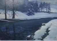 "Adolphe FRAIPONT (active in Liege 1930 )"" The Winter on the Ourthe"""