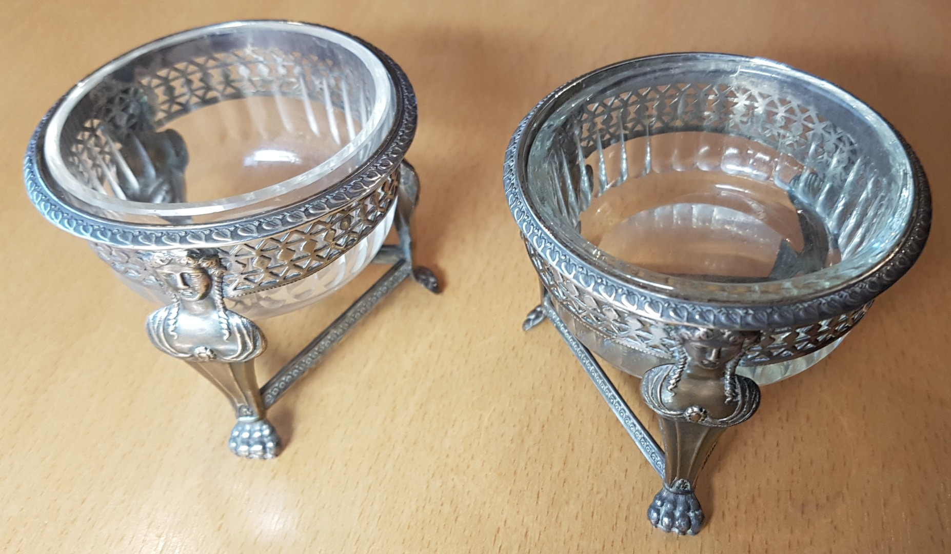 PAIR OF FRENCH EMPIRE PERIOD SALTS