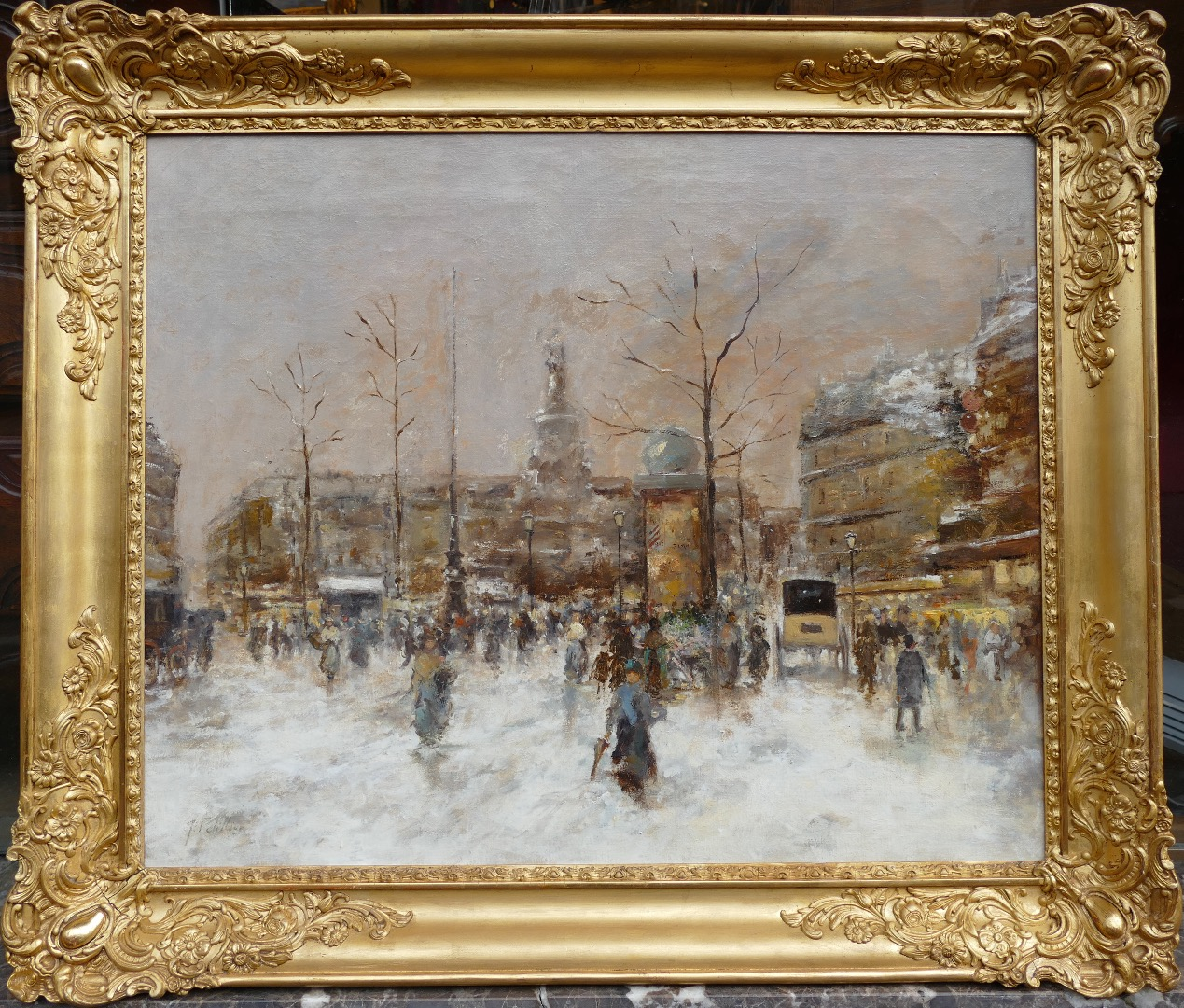 PETILLON Jules Paris animation Place de la République Oil on canvas signed
