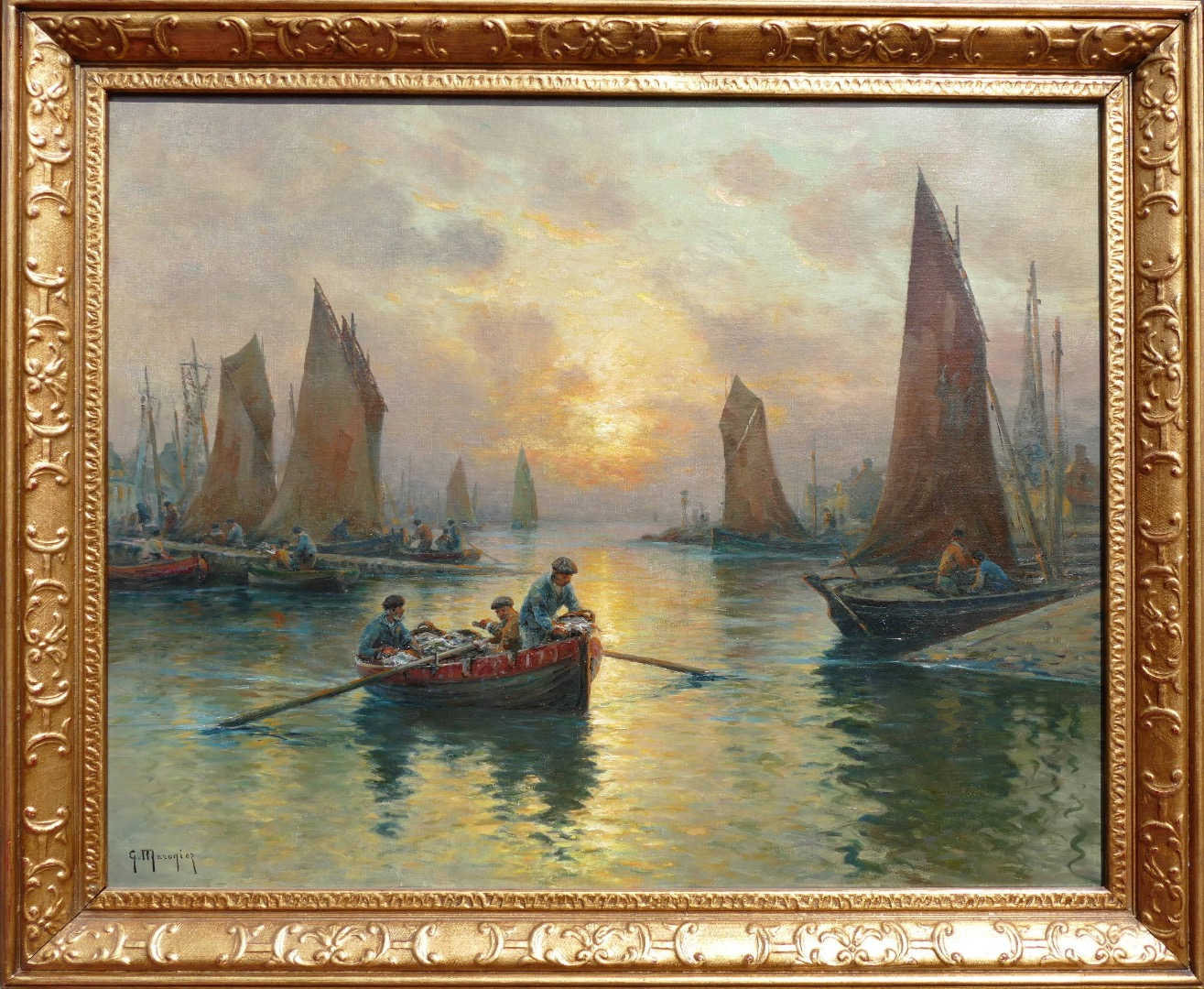 MARONIEZ Georges French Painting Late 19th Century The Return Of Fishermen Oil On Canvas Signed
