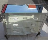 1950' Chest of drawers deco art mirror 3 drawers at 6 handles with silvered rings