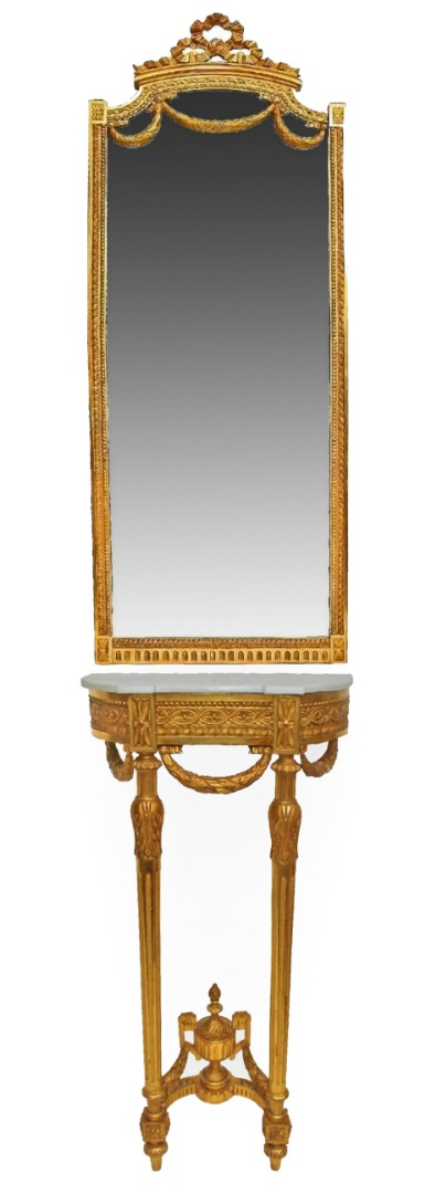 NAPOLEON III PERIOD CONSOLE TABLE AND MIRROR