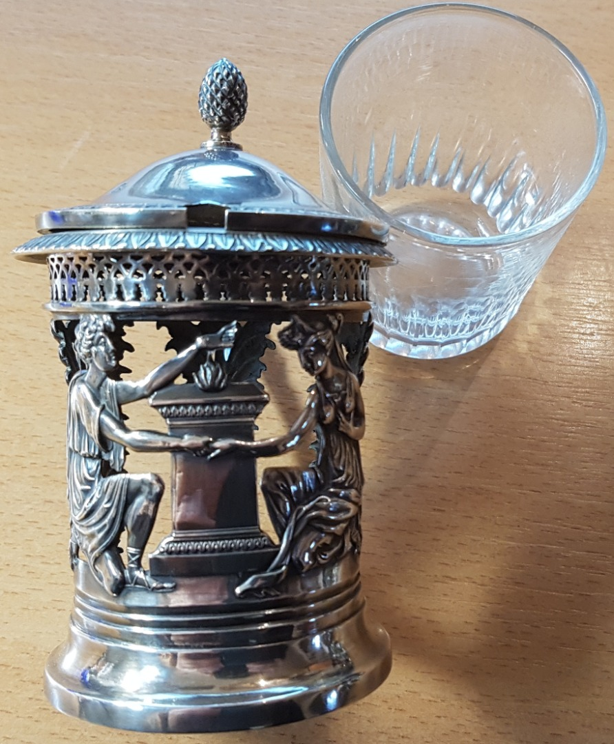 SILVER AND CRYSTAL MUSTARD POT