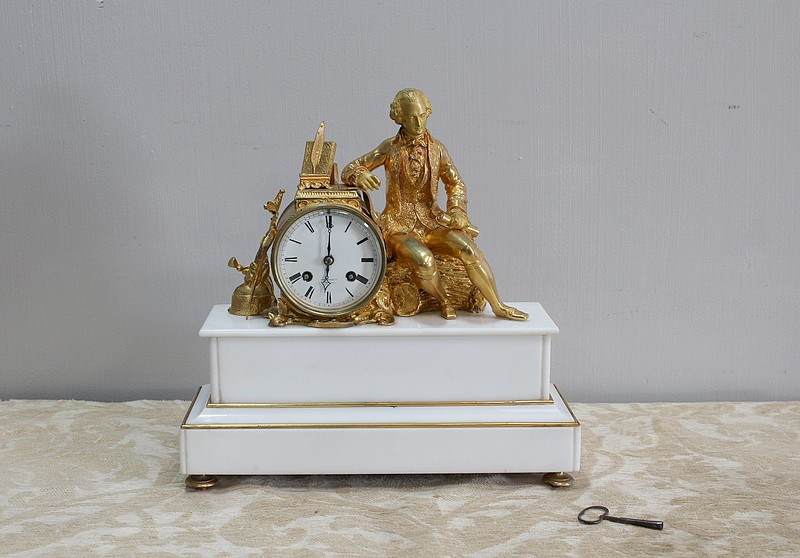 Beautiful bronze and marble clock - XIXth