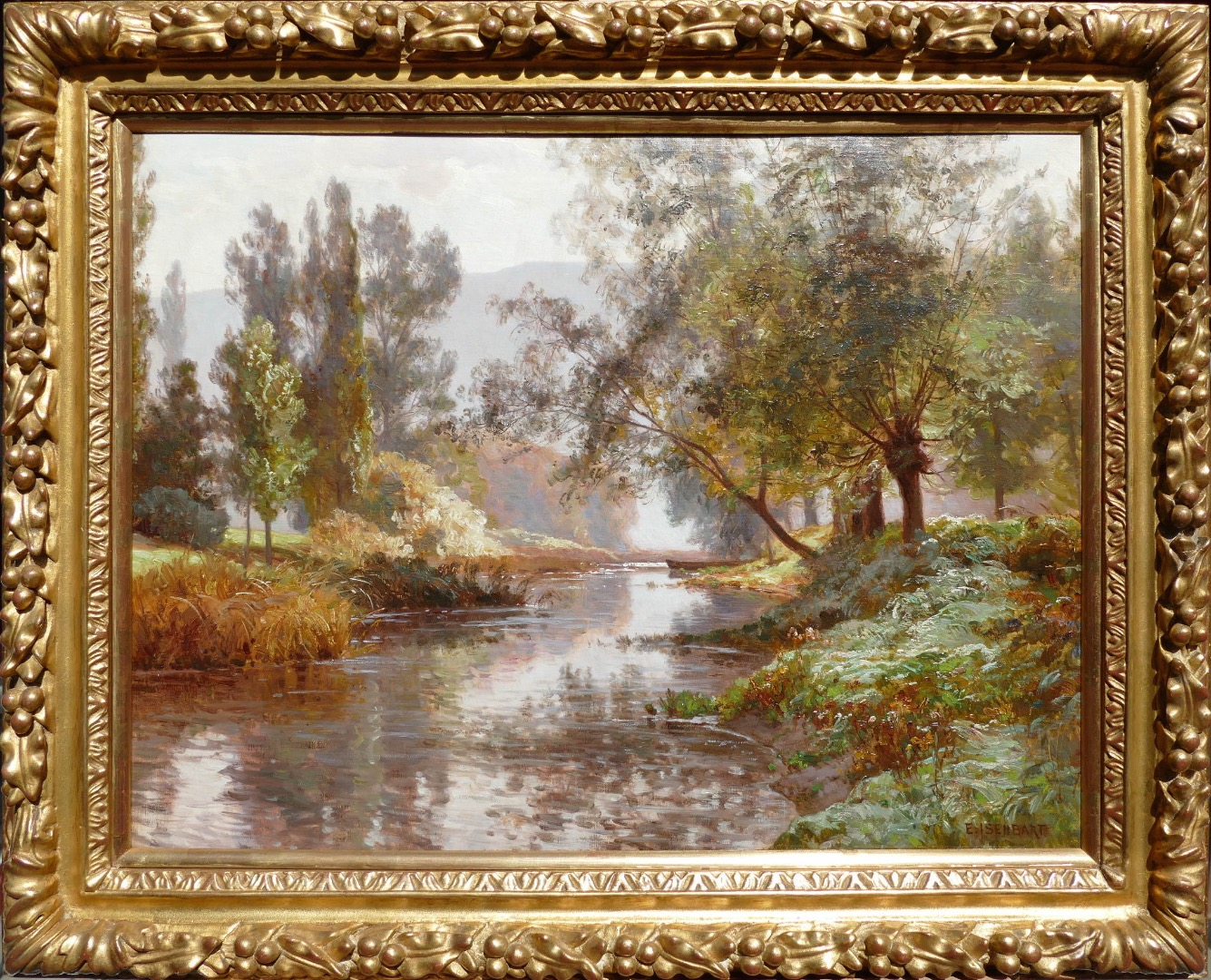 ISENBART Emile Painting French XIXth century Painting landscape of the Doubs The river Oil on canvas signed