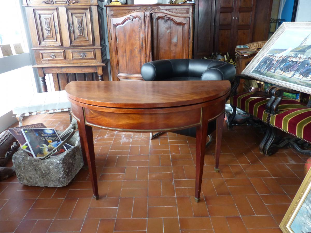 half moon table Mahogany console games table louis xvi style directory