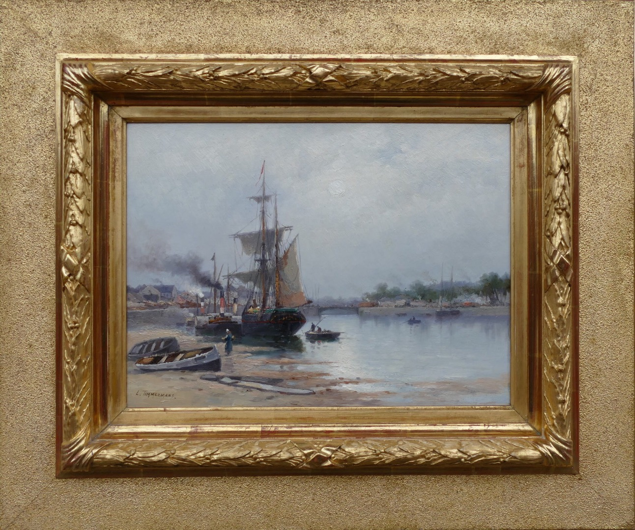 Timmermans Louis French School XIXth Marine The Port Of Lorient Oil On Panel Signed