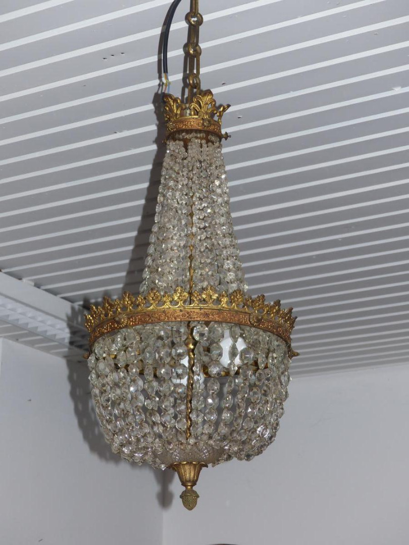 CRYSTAL AND BRONZE CEILING LIGHT