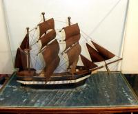 MODEL BOAT IN GLASS DISPLAY CASE