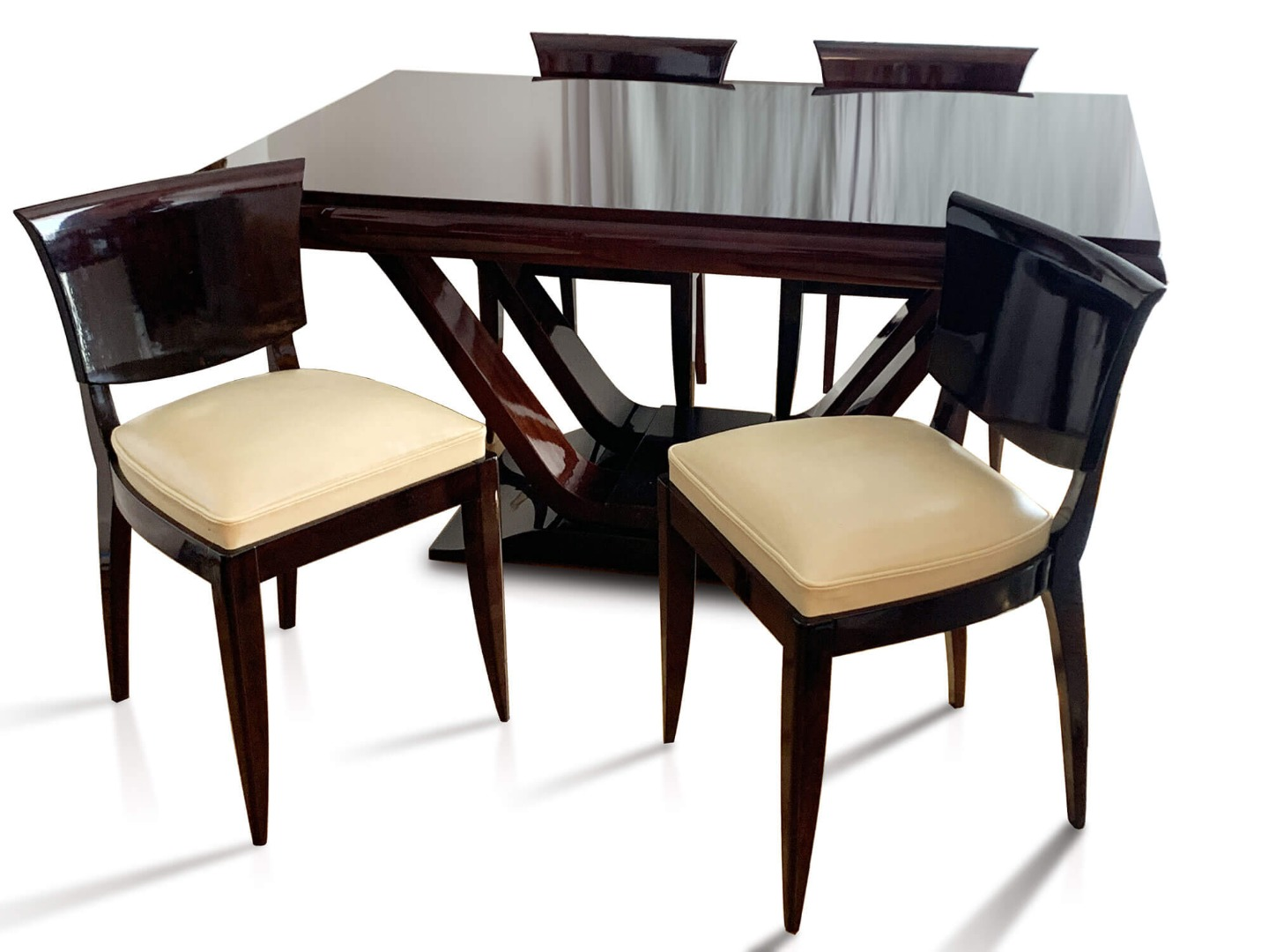 Art Deco Rio Rosewood Table With 6 Chairs - Circa 1930