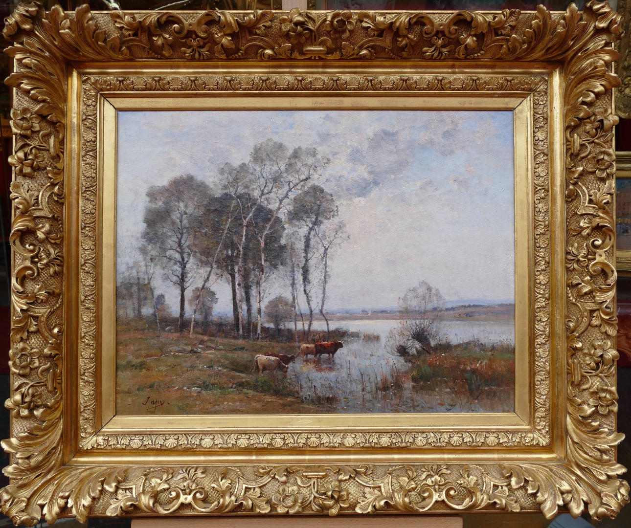JAPY louis Aime French painting XIXth century Barbizon school Oil on canvas signed Cows at the pond