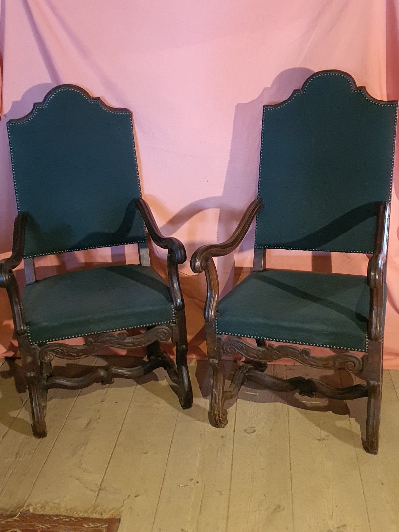 PAIR OF LOUIS XIII-LOUIS XIV ARMCHAIRS
