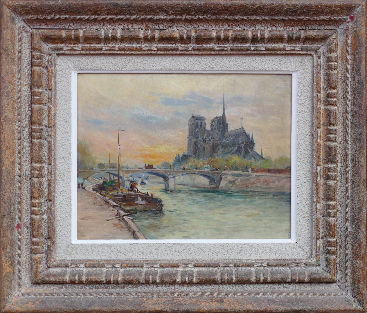 MADELAIN Gustave impressionist painting XXth century barges moored seen on Notre Dame of Paris oil on panel signed