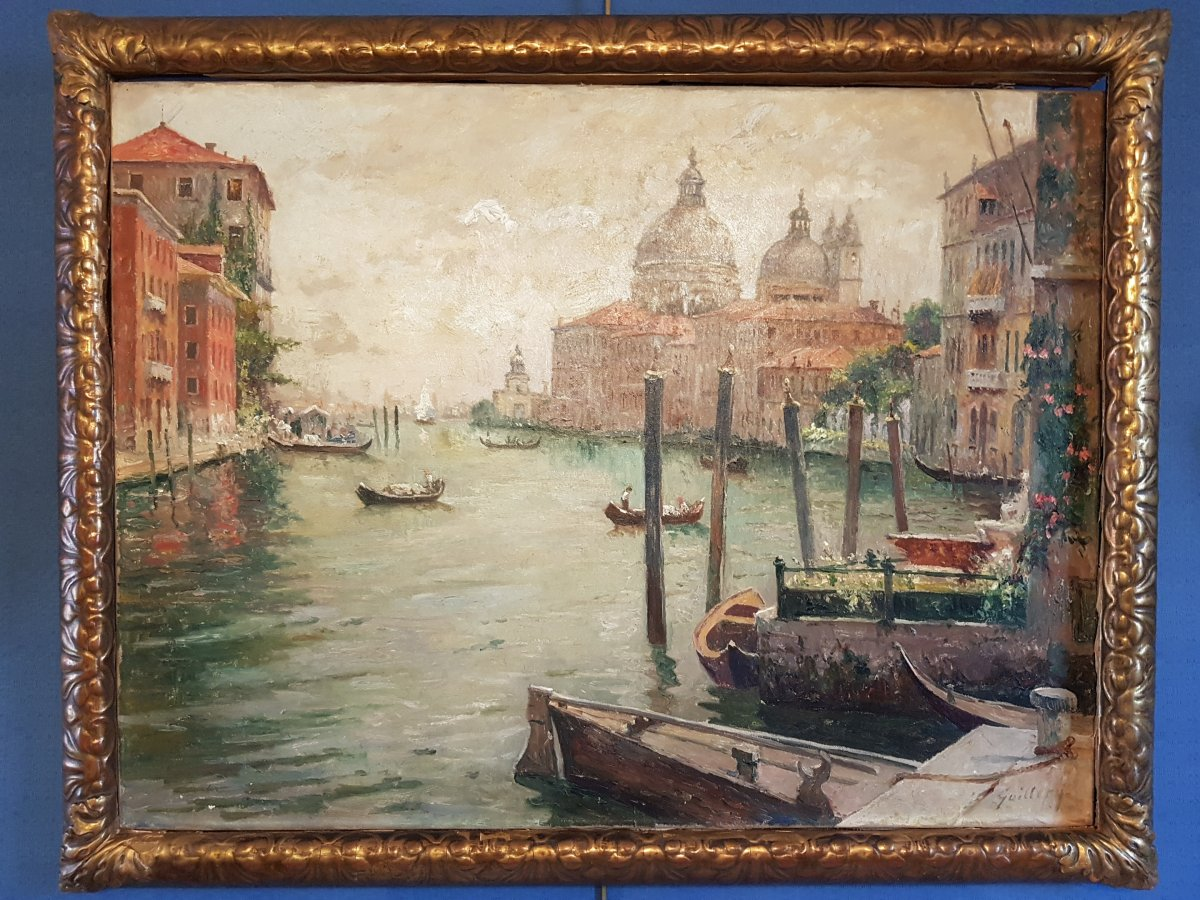 View Of Venice By Guillery, Oil On Canvas. Early 20th Century.