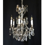 NICKEL PLATED CHANDELIER WITH DROPLETS