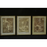 Set of three ink wash painting
