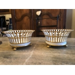 PAIR OF PORCELAIN BASKETS