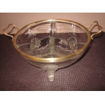 GLASS AND BRASS SERVING DISH
