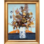 MICHEL HENRY Painting 20Th Bouquet of Spanish thistles 1959 Oil on canvas signed