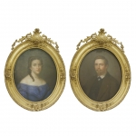 A pair of 19th century pastel portraits