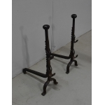 PAIR OF WROUGHT IRON FIRE DOGS
