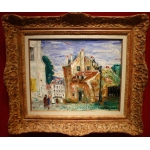 GENIN Lucien French painting 20Th century View of Paris Montmartre Mimi Pinson housse animated Oil on Canvas signed
