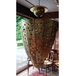 Very Large Chandelier (2m20) In Hammered And Embossed Brass In An Ovoid Shape Circa 1970.