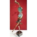 NOWACZYK Sculpture in bronze brass glass crushed Dancer