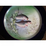 circa art nouveau plate Porcelain Decor gold fish fishing william guerin limoges musee d orsay xix th