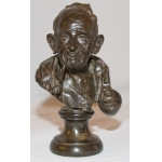 BRONZE BUST SIGNED HUNT