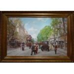 Leon ZEYTLINE Russian School 20th Century View of Paris Tram, carriages and cars on the Boulevard de Strasbourg Oil on canvas signed