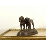 PAIR OF HUNTING DOGS BRONZE HUNTER OF NUREMBERG PERIOD CIRCA XIX